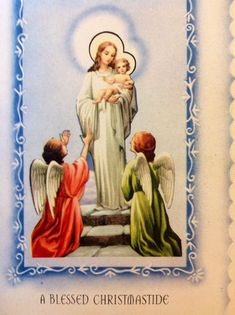 Vintage 1930s Blue Christmas Greeting Card Mary, Infant Jesus, & Adoring Angels