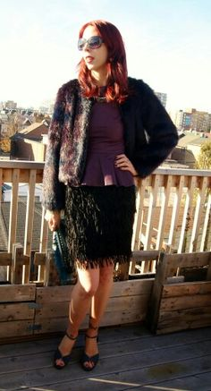 Faux fur jacket + faux leather top from @hm and @joefresh fringe skirt!: http://www.thepurplescarf.ca/2015/01/fashion-my-style-faux-fur-feathers-fringe.html #fashion #mystyle #thepurplescarf #melanieps #toronto