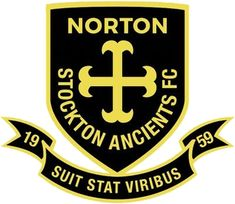 Norton & Stockton Ancients FC of Co. Durham, England crest. Dissolved in 2017.