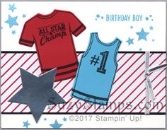 Stampin' Up! Cards - Custom Tee, Designer Tee and Perpetual Birthday Calendar Stamp Sets,T-shirt Builder and Stars Framelits Dies and Sending Love Designer Series Paper Stack