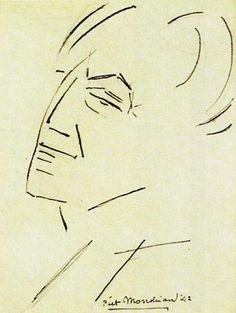 Piet Mondrian Chrysanthemum via A Long Time Alone so lovely! Piet Mondrian 1909 via Aka Pearl of a Girl Piet Mondrian via A. Piet Mondrian, Theo Van Doesburg, Sketches Of People, Dutch Painters, Portraits, Gravure, Famous Artists, Gouache, Online Art