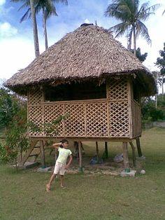 "Filipino stilt-house:   ""bahay cubo""   ""nipa hut"""