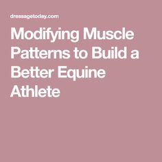 Modifying Muscle Patterns to Build a Better Equine Athlete