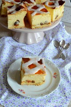 Sernik krakowski (Sernik z kratką) Polish Recipes, Cheesecake, Pancakes, Food And Drink, Pudding, Breakfast, Cook, Christmas, Polish Food Recipes