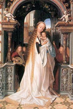 Quentin Matsys (1466–1530)   María y el Niño rodeados de ángeles.