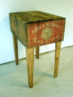 Arm & Hammer Box cutting board table. I'd have a drawer or open space underneath for storage. Would make a great small bar!