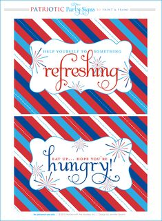 free printables: patriotic labels to use as food and drink labels : For Veteran's Day celebration @ school, very cute!