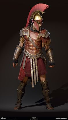 My name is Sabin Lalancette and I'm a member of the Character Production Team for Assassin's Creed Odyssey at the Québec Studio. Arte Assassins Creed, Assassins Creed Odyssey, Roman Warriors, Spartan Warrior, Greek Warrior, Armadura Medieval, Templer, Roman Soldiers, Armor Concept