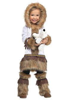 Fun World Costumes Baby Girl's Eskimo Toddler Costume, White/Brown, Small - Size: 24 Multi Eskimo Halloween Costume, Eskimo Costume, Pink Halloween, Toddler Halloween Costumes, Cute Costumes, Dog Halloween, Halloween Dress, Spirit Halloween, Girl Costumes