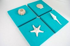 Paint canvases to match your decor, add shells, and you have easy wall art