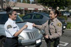 Volunteer and Deputy handing out Crime Prevention Info. July 16, 2013. (Photo Credit: C. Miller)