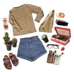 """succulent friends"" by kampow ❤ liked on Polyvore featuring Saint James, Birkenstock, Alexander Wang, Crosley, Cutler and Gross and Jonas Damon"