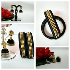 an elegant black and gold combination silk thread jhumka and bangle set....