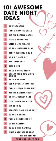 Looking for exciting, fun or cute date ideas? Here are 101 date night ideas for couples. Great date ideas for Summer, Wi