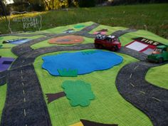 Handmade Fabric and Felt Car Mat - one of a kind toy, imaginative play, boys room mat
