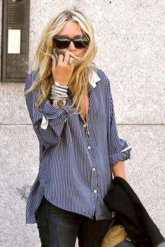 striped oxford and skinny dark jeans.