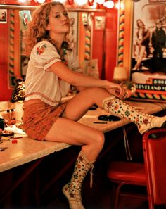 "Kate Hudson as ""Penny Lane"" (AKA Lady Goodman) in Almost Famous. Those boots are amazing."