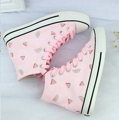 """Lovely pink hand painted high help canvas shoes Coupon code """"cutekawaii"""" for 10% off"""
