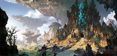 Il su Ko : Concept a. Landscape Concept, Fantasy Landscape, Landscape Art, Fantasy Places, Fantasy World, Fantasy Art, Environment Concept Art, Environment Design, Skyrim