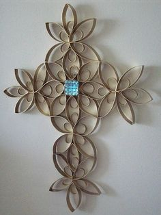 When I was at VBS we did a craft like this but out of toilet paper rolls and then spray painted it with gold or black ! A fun a easy craft that looks like an expensive Piece of art ! Try it out !          You need . To cut toilet paper rolls up . Then your going to need glue and spray paint and if you want to add the jewel that's a personal preference . I hope you find this craft interesting !