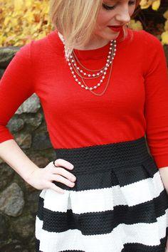 Poor Little It Girl - Style Revel Black and White Stripe Skirt, J.Crew Tippi Red Sweater and Zara Black Heels