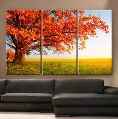 Huge 3 Panels framed depth Art Canvas Print beautiful Red tree leaves autumn in prairie Wall ho 3 Canvas Paintings, Multiple Canvas Paintings, Canvas Painting Tutorials, Small Canvas Art, Canvas Painting Landscape, Painting Patterns, Canvas Art Prints, Canvas Wall Art, Theme Nature