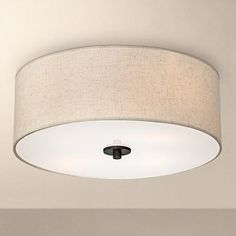 Bronze With Off White Shade 18 Wide Ceiling Light Fixture 2n838 Www
