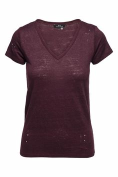 """This MLV """"Anberlin"""" destructed tee in """"Mulberry"""" has holes through the body and a stitched hole in the back top panel. This top is a deep berry color and drapes on the body loosely and is not meant to be fitted. Pairs well with vegan leather leggings a leather jacket and some great boots  Anberlin Mulberry Tee by MLV. Clothing - Tops Nevada"""