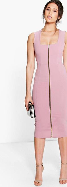 Sonia Square Neck Zip Front Bodycon Dress - Dresses  - Street Style, Fashion Looks And Outfit Ideas For Spring And Summer 2017