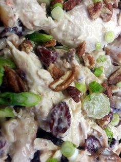 Apple-Pecan #Chicken Salad recipe with scallions, grapes and dried cranberries