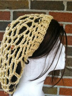 Crochet Mesh Beanie  Beaded Snood  Summer Slouchy Hat by Caheez, $22.50
