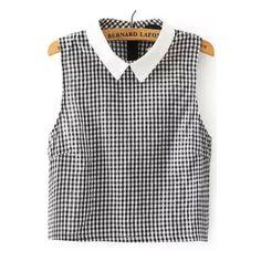Black Cute Lapel Sleeveless Cotton Blends Plaid Slim Zipper Summer Blouses, Size Available: S,M,L Type: Slim Sleeve Length: Sleeveless Style: Cute Collar: Lape…