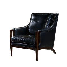 Mid Century Leather Upholstered Mahogany Armchair – English Georgian America
