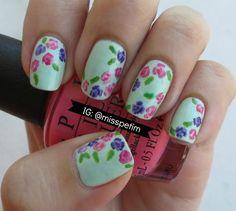 Flowers nail art by @misspetim roses,  #spring,  #flowers,  #nail polish,  #nailart