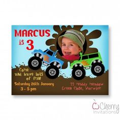 Monster Truck Photo Insert Themed Personalised Kids Birthday Party Invitations -  From as little as £0.45 per invite - Including free envelopes and delivery on all orders!