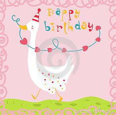 Happy birthday funny goose card on pink background