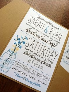 mason jar wildflower wedding invite by mandy- these ads cute too.  ( sure you could change the color)