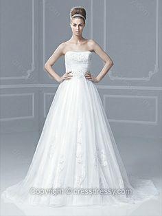 Princess Strapless Tulle Satin Sweep Train White Appliques Wedding Dresses -$226.89