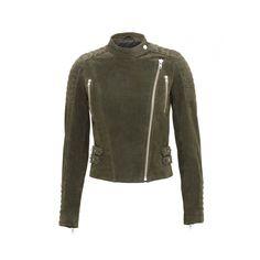 ZIVA Biker Green (1.800 DKK) ❤ liked on Polyvore featuring outerwear, jackets, biker jacket, motorcycle jacket, real leather jackets, green leather jacket and leather moto jacket