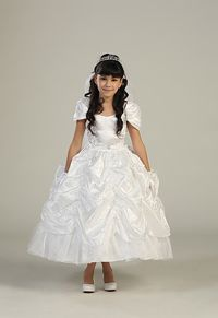 Flower Girl Dresses - Girls Dress Style 5527- Short Sleeve Taffeta Pick Up Dress with Sequins