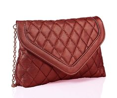 Buy Red Quilted Envelope #Clutches #Handbags Shopping #Online - Free Shipping and Cash on Delivery !