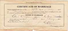 Musings of MidwestAncesTree: Wordless Wednesday: Marriage Certificate for Clara Morlan and Carl Elgin #genealogy