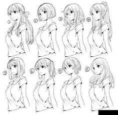 Anime hair – Drawing Tips Hair Reference, Drawing Reference, Manga Drawing, Drawing Sketches, Drawing Tips, Anime Hair Drawing, Drawing Ideas, Girl Hair Drawing, Art Drawings
