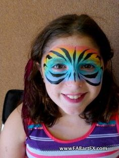 rainbow tiger face painting | Rainbow Tiger mask face paint for teens by FABartFX.com