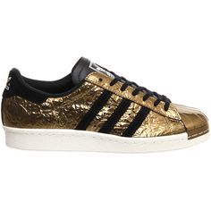 Adidas Superstar 80s Metal Toe Gold Metallic Black White ($100) ❤ liked on Polyvore featuring shoes, 80s fashion, 1980s shoes, white black shoes, adidas footwear and 80s shoes