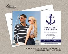 DIY Printable #Nautical #Wedding Save The Date Postcard, Personalized With YOUR #Engagement Image! by iDesignStationery, $12.95