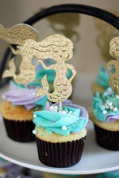 Mermaid Cupcakes Mermaid Party Food, Mermaid Cupcakes, 4th Birthday, Ariel, Holiday Fun, Birthdays, Cooking, Building, Desserts