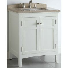 allen + roth Windleton 30-in x 20-5/8-in White Single Sink Bathroom Vanity with Natural Marble Top.  lowes $360