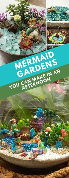Mermaid Gardens - These mermaid gardens are a whole new take on fairy gardens, and filled with mystical sea-based treasures. Make one for yourself or with your daughter! fairy garden ideas 16 Magical Mermaid Gardens You Can Make in An Afternoon Beach Fairy Garden, Fairy Garden Houses, Gnome Garden, Fairies Garden, Garden Bed, Garden Pests, Fairy Crafts, Garden Crafts, Garden Projects