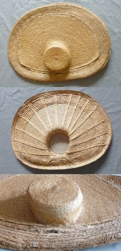 Large Dutch Straw Hat 18th c  A  zonnehoed or sunhat from Friesland. The coarse plaited straw would have been covered by a cotton chintz, so that only the finer straw could be seen.